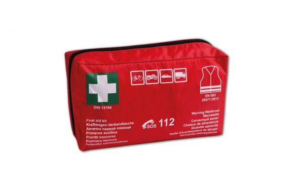 DIN DUO 1 580x363 - Apteczka pierwszej pomocy samochodowa z wyposażeniem DIN DUO + kamizelka ostrzegawcza