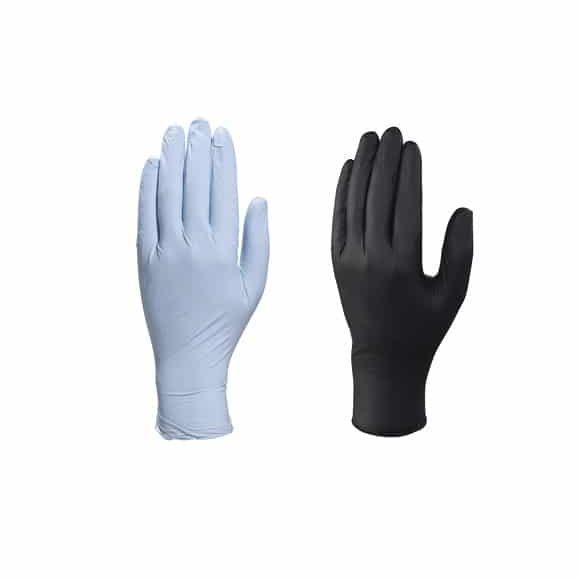 ZESTAW RĘKAWICE NITRYLOWE CZARNE NIEBIESKIE www 580x580 - Rękawice jednorazowe nitrylowe czarne i niebieskie DELTA PLUS (200 szt.)