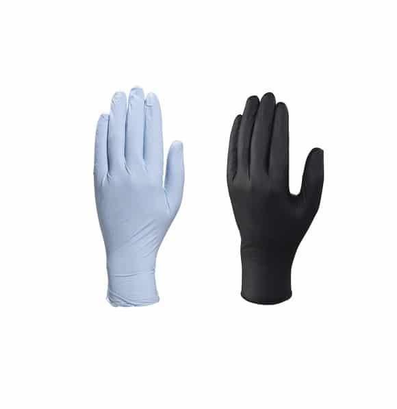 ZESTAW RĘKAWICE NITRYLOWE CZARNE NIEBIESKIE www - Rękawice jednorazowe nitrylowe czarne i niebieskie DELTA PLUS (200 szt.)