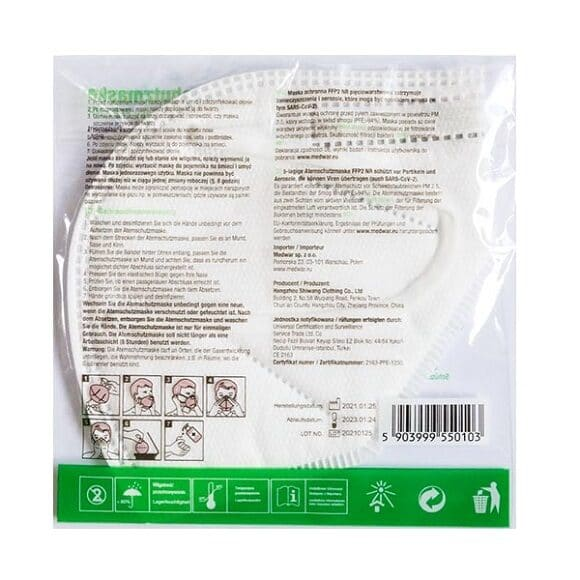 maska ffp2 010 580x580 - Półmaska jednorazowa filtrująca FFP2 NR (opakowanie 20 szt.)