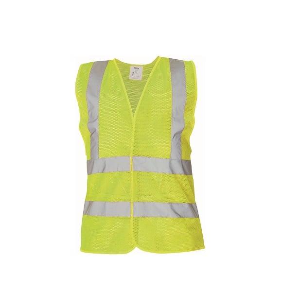 03030048 QUOLL vest yellow CERVA 042017 10896 www - Kamizelka ostrzegawcza siatkowa 4 odblaski QUOLL pomarańczowa, żółty fluo