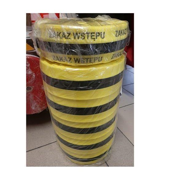 Tasma dziana zolto czarna zakaz wstepu 2 580x580 - Taśma ostrzegawcza dziana materiałowa LDC biało-czerwona żółto-czarna 100m