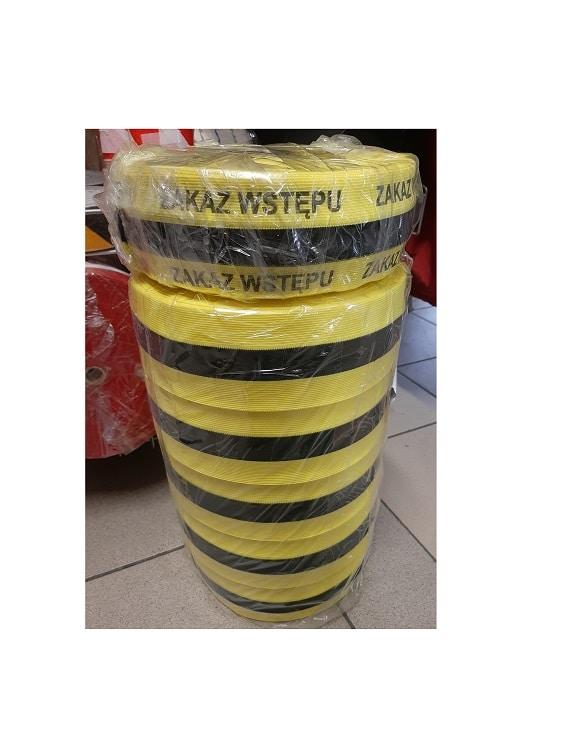 Tasma dziana zolto czarna zakaz wstepu 2 - Taśma ostrzegawcza dziana materiałowa LDC biało-czerwona żółto-czarna 100m
