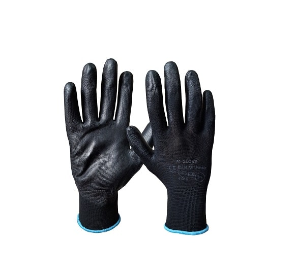 m glove 4131x pu1001 black 4131x - Rękawice dziane poliestrowe bezszwowe powlekane poliuretanem PU1001 czarne, białe