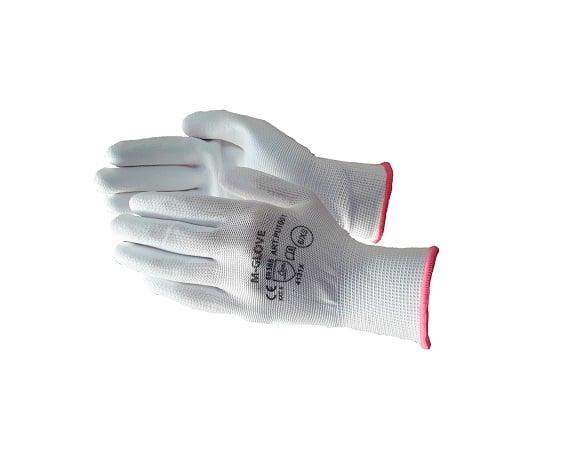 m glove pu1001 4131x white - Rękawice dziane poliestrowe bezszwowe powlekane poliuretanem PU1001 czarne, białe